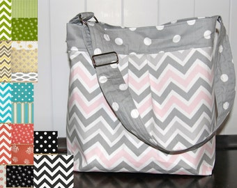 CHOOSE two fabrics Medium Diaper Bag , Grey and Pink Chevron and Polka dots- The Parker