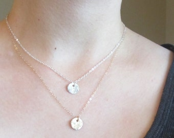 Silver Hammered Necklace, Silver Hammered circle Necklace, dainty