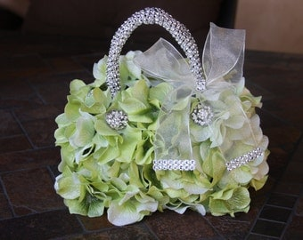 flower girl basket  rustic with hydrangea petals and brooches  keepsake floral purse green flower girl basket flower girl handbag