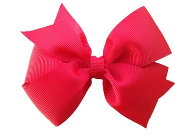 4 inch red hair bow - red bow, 4 inch bows, pinwheel bows, girls hair bows, toddler bows, red hair bows, girls bows, hair clips