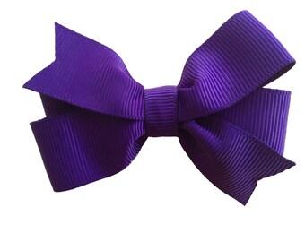 Dark purple hair bow - dark purple bow, baby bow, toddler bow, 3 inch bow, girls hair bows, purple hair bows, girls bows, pinwheel hair bow