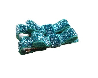 Set of small turquoise glitter hair clips - teal hair bows, aqua hair bows, glitter bows, baby bows, baby hair clips, toddler hair bows