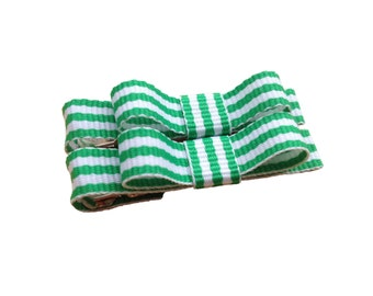 Green & white striped baby bows - tuxedo bows, toddler bows, St. Patrick's Day bows