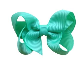 Mint green boutique bow - light green hair bow