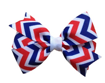 Red white & blue chevron hair bow - Fourth of July bow, patriotic bow, red white blue bow, flag bow