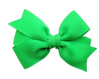 Neon green hair bow - green bow, 3 inch bow, pinwheel bows, toddler bows, girls hair bows, girls bows, baby bows, green hair bows