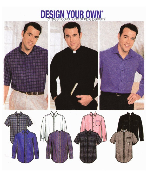 2002 Men's Design Your Own Shirt, Wide Spread, Button Down, Neck Band, Clerical, Nehru, Pointed Collar Options, Simplicity 7187, Size 38-44