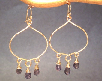 Hammered hoops with your choice of gemstone Siren 200