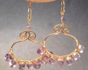 Luxe Bijoux 183 Pale amethyst swirl drop hoop earrings Luxe Bijoux 183