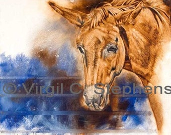 Mule art, Reds Got the Blues, print from the original oil painting of a mule, red mule, mule artwork