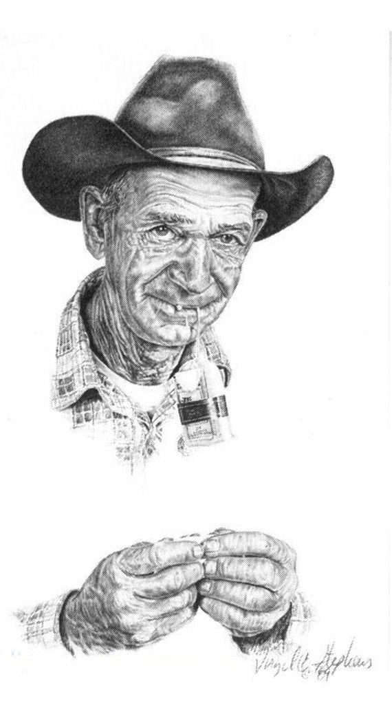 Bull Durham, drawing of a cowboy fixing to roll up a ciggarette.  Bull Durham is an old cowboys choice of smoke