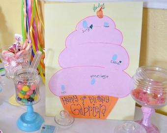 Cupcake Sweet Shoppe Birthday Party Fingerprint Art Guestbook 8x10
