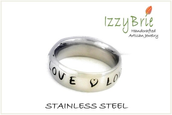HANDSTAMPED stainless steel ring - Ring - women or men - Size 5 to 13