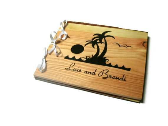 items similar to beach theme wedding guest book wood rustic book 10