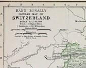 Switzerland Vtg Map, 1928