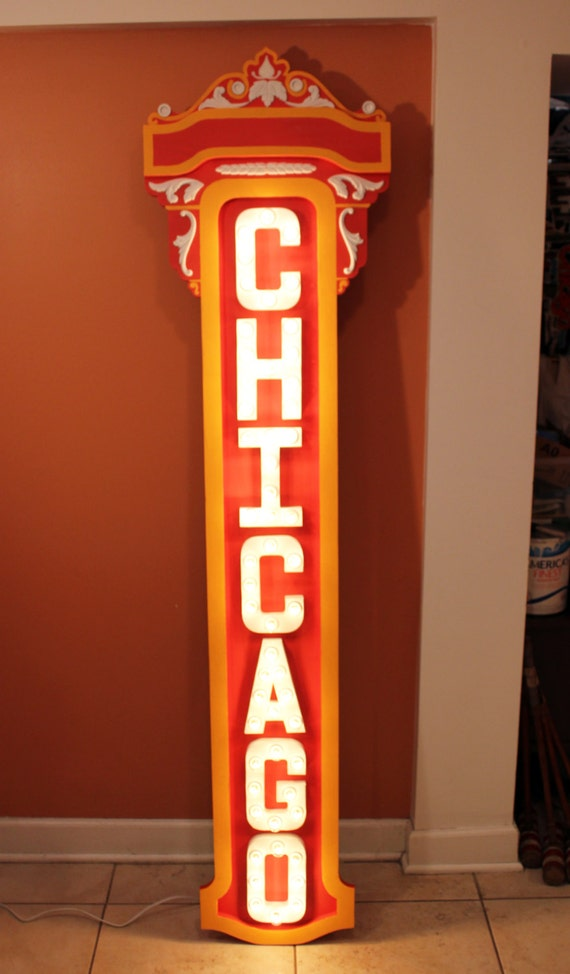 Chicago Theater Marquee Light Up Sign Scale Replica By