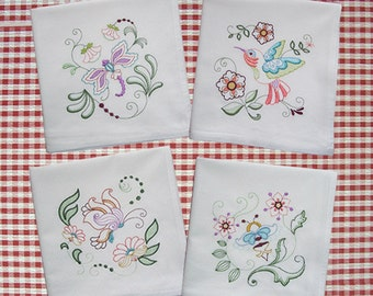 Embroidered Set of Springtime Kitchen Towels Hummingbird Dragonfly Butterfly and Bumble Bee