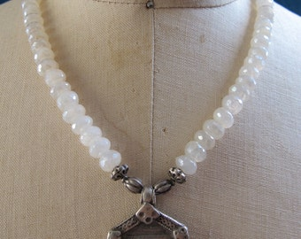Necklace with Antique Indian Silver Durga Amulet and White Agate