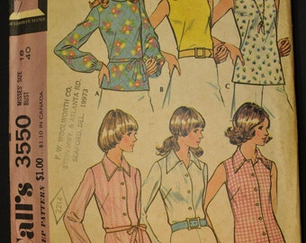 1973 McCall's 3550 Misses Blouse Pattern - Sleeveless or Long Sleeve - Button Down and Collar or Plain Front - Size 18, Bust 40