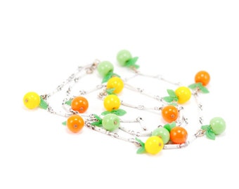 Vintage Necklace Fruit Enameled Glass Oranges Lemons Limes Leaves Summer