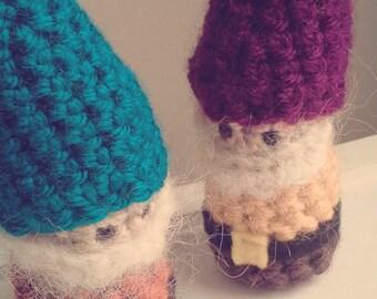 Gnome Crochet Stuffed Doll Toy Lucky Pocket Yellow Burgundy Purple Yarn