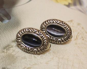 Vintage Oval Stud Earrings, Clip On Earrings, Gifts Under 15