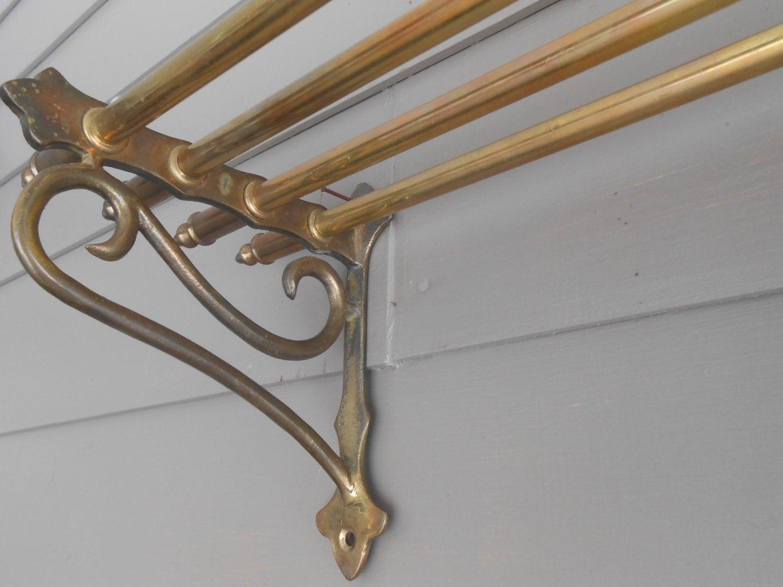 Vintage Brass Pullman Train Hotel Towel Wall Shelf Rack