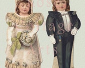 """Digital Download 'Bride and Groom' Antique Die Cut Wedding Paper Dolls and Clothing Victorian Scrap Graphic Image """"The Bride & Groom"""""""