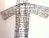 Fiber Art Sculpture Mix Media OOAK Monk Humble Robe Fiber Art Brown Icelandic Sheep Wool with Thomas Merton Quote Spiritual African Adinkra