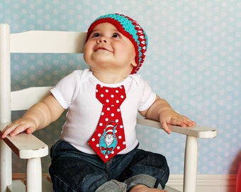 Baby boy tie one piece bodysuit, cat and the hat, Dr. Seuss, photo prop, first birthday shirt, Red and Blue, Short or Long Sleeves