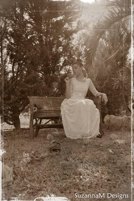 Long 50s Wedding Gown, Vintage Wedding Dress, Long Sleeves Wedding Dress - Handmade by SuzannaM Designs