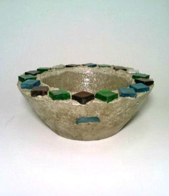 Concrete Bowl, Glass Bowl, Fire Bowl, Trinket Holder. Bird Feeder, Candy Dish. Succulent Bowl