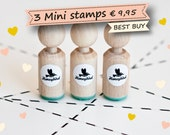 Set of 3 Mini Stamps of your choice (more then 170 different designs)