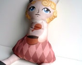 Miss Muffet Pillow, Plush Doll, Nursery Decor, Mother Goose -- Safe for All Ages