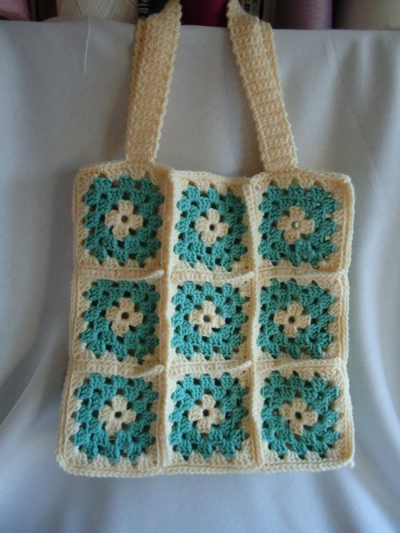 Granny Square Tote Bag : ... to Handmade Crochet Granny Square Tote in Sage and Cream on Etsy