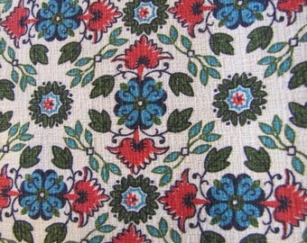Floral Folk Barkcloth, Coral and Teal Floral Barkcloth, Barkcloth, 1950s Barkcloth, Big Piece of Barkcloth