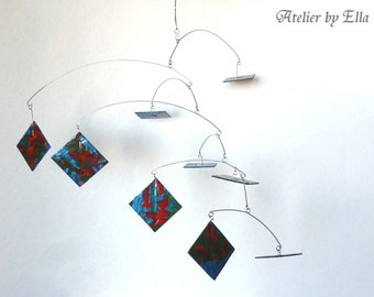 Art Mobile , Kinetic Sculpture , Hanging Hand - painted Mobiles 9 Squares