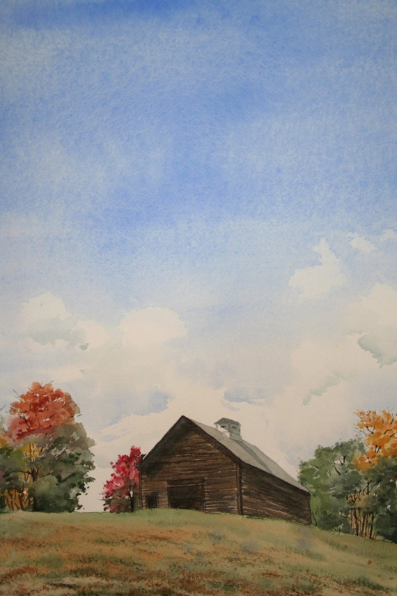 Barn On The Hill Original Watercolor Painting