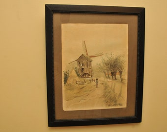 Antique Watercolor Painting SIGNED Windmill and Puritan Lady Original Painting Frame Victorian