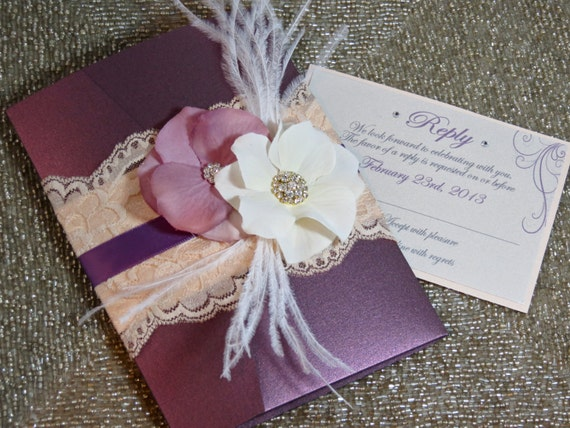 vintage glamour: lace wedding invitation plum wedding, Wedding invitations