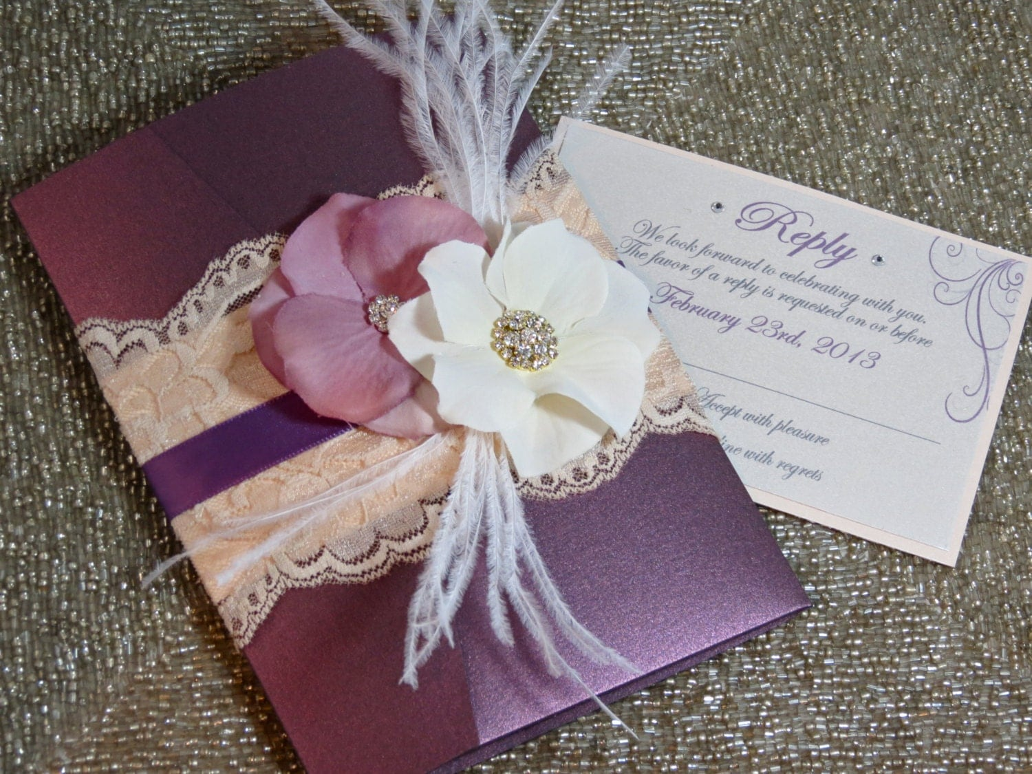 VINTAGE GLAMOUR: Lace Wedding Invitation Plum Wedding