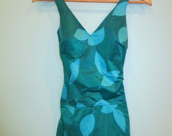 Vintage 60's Teal and Aqua Skirted Pin Up Style Maillot