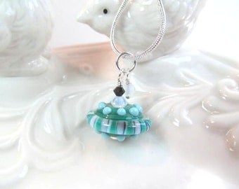 Necklace blue green glass art lampwork bead with crystals