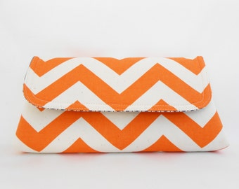 Orange and White ZigZag Clutch