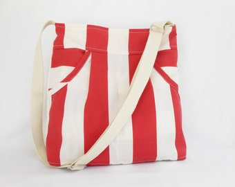 Nautical Tote Bag  Red and Cream Stripe