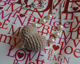 Heart necklace - Sweet Rustic Oatmeal colored crochet puffy Heart necklace with beaded chain