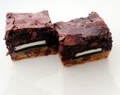 Slutty Brownies -  Cookie Oreo Chocolate Fudge Brownie Bars - Valentine's Day Chocolate - 4 large brownies