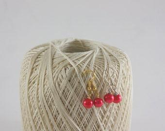 Red Pearl Earrings, Dark Pink Earrings