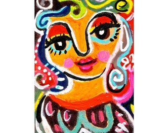 Whimsical Art, Childrens Room Decor, Girl Print, Girls Room Decor, Whimsical Girl Print, Pretty Woman by Paula DiLeo
