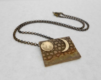 Sun and Moon Necklace, Bronze Metal Clay, Metal Clay, Pendant